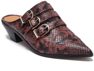 Joie Cabery Snake Embossed Leather Block Heel Mule