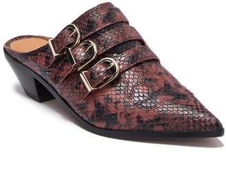 Joie Cabery Snake Embossed Leather Block Heel Mule