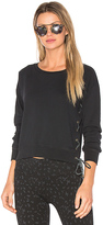 Rag Doll Ragdoll Lace Up Crop Sweatshirt in Black. - size L (also in M,S)