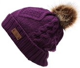 Angela & William Women's Faux Fur PomPom Fleece Lined Knitted Slouchy Beanie Hat