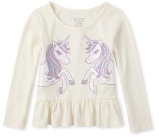 The Children's Place Baby Toddler Girl Unicorns Graphic Peplum Ruffle Top
