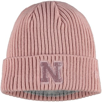 New Era Women's Pink Nebraska Cornhuskers Team Glisten Cuffed Knit Hat