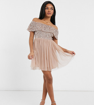 Maya Petite Bridesmaid off-the-shoulder mini tulle dress with tonal delicate sequin in taupe blush