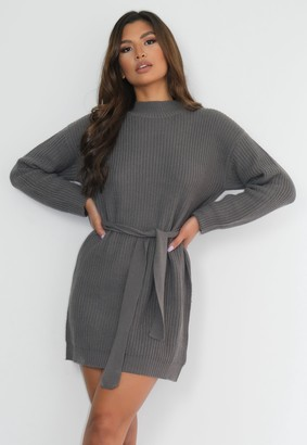Missguided Charcoal Roll Neck Belted Knit Dress