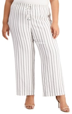 Calvin Klein Plus Size Striped Wide-Leg Pants