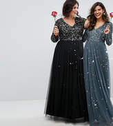 Maya Plus Plunge Front Long Sleeve Maxi Dress In Tonal Delicate Sequin And Tulle Skirt