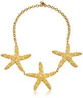 Yochi White Starfish Trio Necklace, 16''
