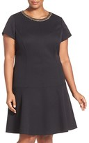 Ellen Tracy Plus Size Women's Chain Detail Pique Drop Waist Dress