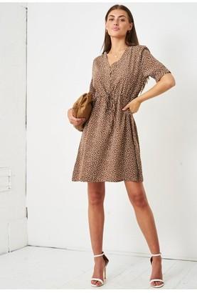 Love Frontrow Short Sleeve Mini Smock Dress | Brown