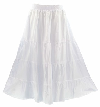 Beautybatik White Women Cotton Boho Gypsy Long Maxi Tier Flare Skirt 18