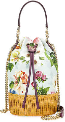 Dolce & Gabbana Millennials Floral Canvas & Raffia Bucket Bag