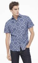 Short Sleeve Chambray Bandana Print Shirt