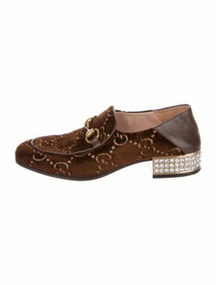 Gucci Horsebit Accent Printed Oxfords Brown