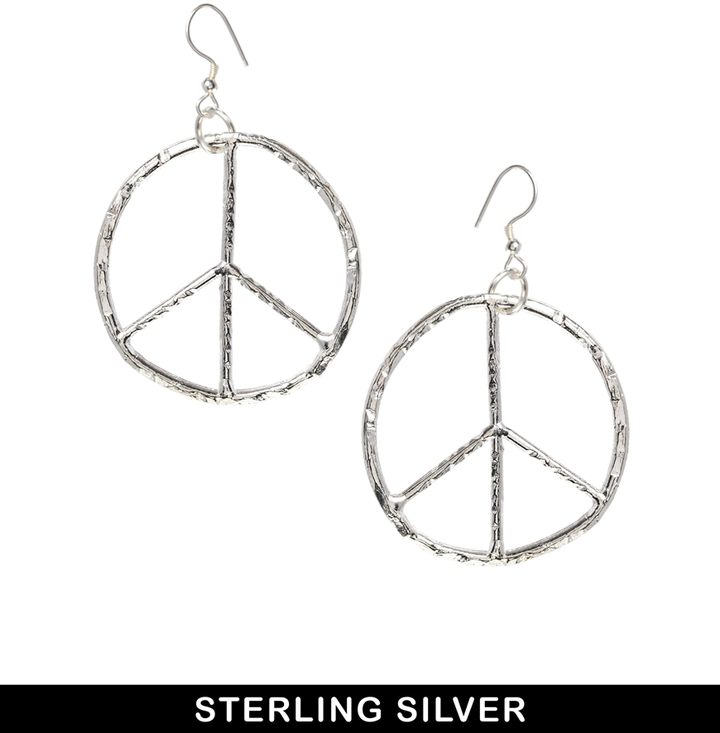 Bloody Mary Sterling Silver Peace Oversize Drop Earrings - Silver