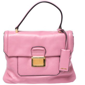 Miu Miu Pink Vitello Soft Leather Top Handle Bag