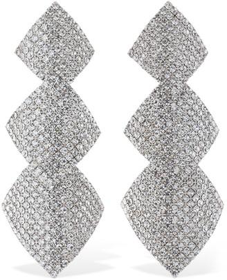 Alessandra Rich Three Square Crystal Clip-On Pendant