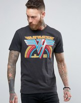 Pull&Bear T-Shirt With Van Halen Print In Washed Black