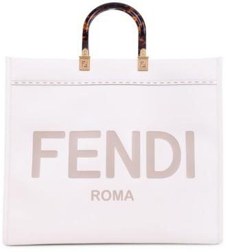 Fendi Logo Leather Shopper