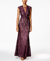 Betsy & Adam Petite Cap-Sleeve Lace Illusion Gown