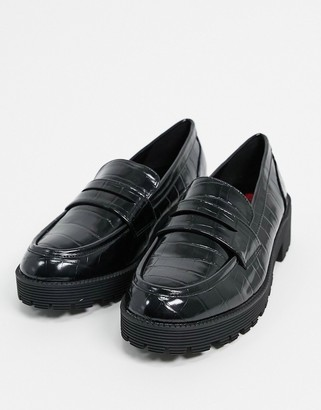 London Rebel chunky loafers in black