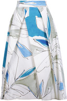 Milly Clarisa Pleated Printed Cotton-Blend Midi Skirt