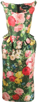 Richard Quinn Bustier Floral Print Dress