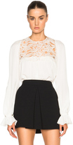 Giambattista Valli Lace & Sable Blouse