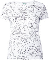 Kenzo face sketch T-shirt - women - Cotton - M