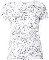 Kenzo face sketch T-shirt - women - Cotton - S