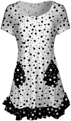 Lily Women's Tunics BLK - Black & White Polka Dot Ruffle-Hem Angled-Pocket Tunic - Women & Plus