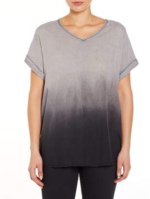 M&Co VIZ-A-VIZ gradual dip dye tunic top
