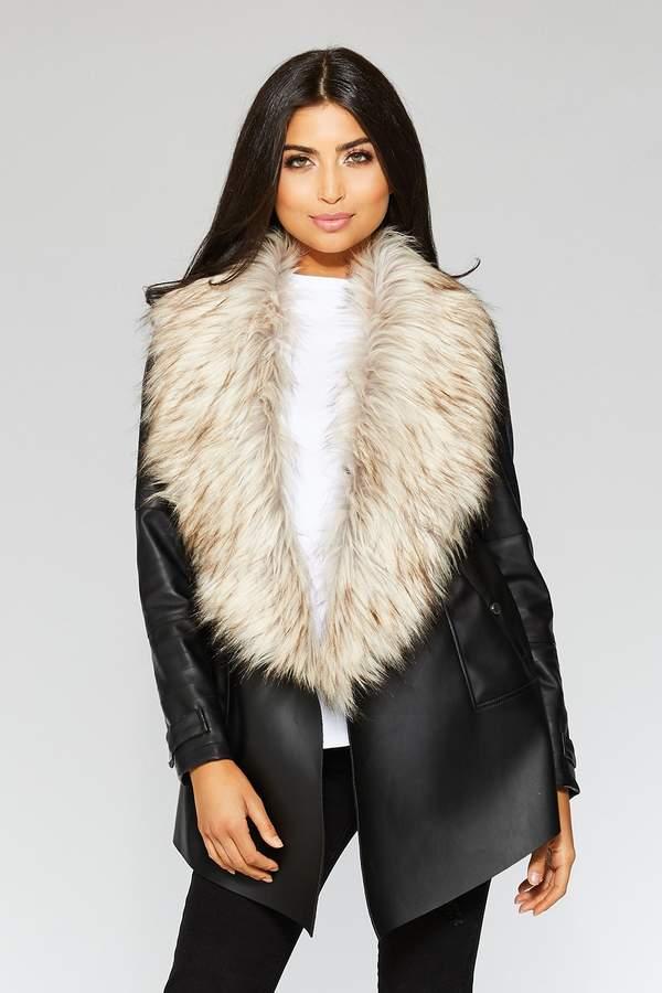 f4128bfab Black Waterfall Faux Fur Trim Jacket
