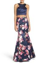 Xscape Evenings Women's Floral Satin Two-Piece Ballgown