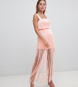 Asos DESIGN Petite fringe square neck scuba mini dress-Pink