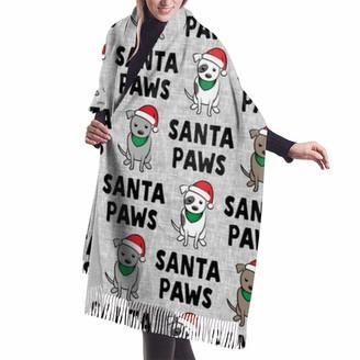 Gong Santa Paws Cute Holiday Pit Bulls Christmas Dog Black On Grey Shawl Wrap Winter Warm Scarf Cape Large Soft Cozy Cashmere Scarf Wrap Womans Warm Shawl Stole