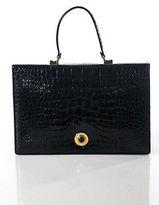 Judith Leiber Black Alligator Gold Tone Flap Shoulder Handbag