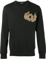 Alexander McQueen embroidered plaque sweatshirt - men - Cotton/Brass/glass - L