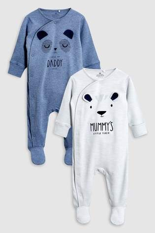 Next Boys Grey/Blue Character Mummy And Daddy Sleepsuits Two Pack (0mths-2yrs)