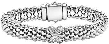 Lagos Silver Caviar Bracelet with Diamond X