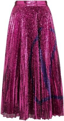Valentino Sequin Embellished Pleated Midi Skirt