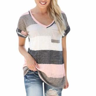 jieGorge Blouses for Women Elegant Women Fashion V-Neck Stripe Print Short Sleeve Top Pocket Blouse T-Shirt