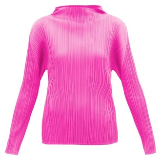 Pleats Please Issey Miyake High-neck Technical-pleated Top - Pink