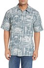 mens quiksilver waterman collection power lounge print short sleeve sport shirt