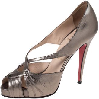 Christian Louboutin Bronze Leather Scissor Girl Peep Toe Pumps Size 39.5