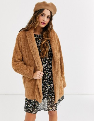 Qed London soft touch hoodie in camel