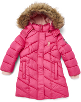 U.S. Polo Assn. Fuchsia & Classic Pink Hooded Puffer Jacket - Toddler & Girls