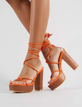 Public Desire Strut Lace Up Block Heels PU