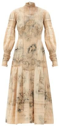 Mimi Prober - Maria High-neck Botanical-dyed Cotton Maxi Dress - White Multi