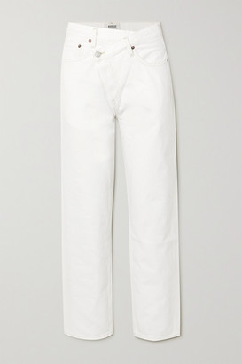 AGOLDE Criss Cross Distressed Mid-rise Straight-leg Jeans - White