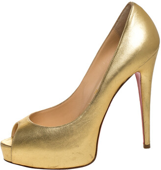 Christian Louboutin Metallic Gold Vendome Peeptoe Pumps Size 38